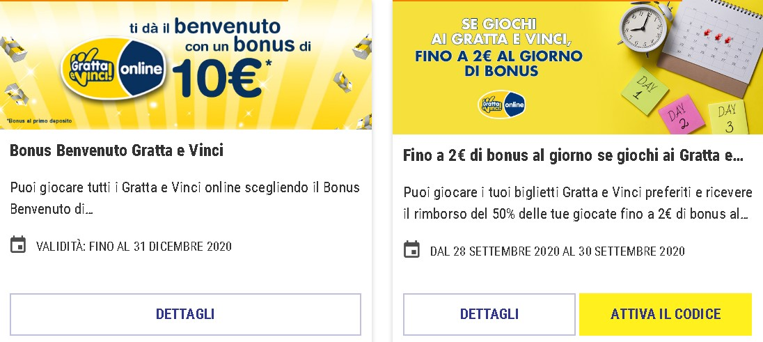 Lottomatica other bonuses